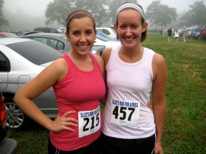 Roommate M and I before the race