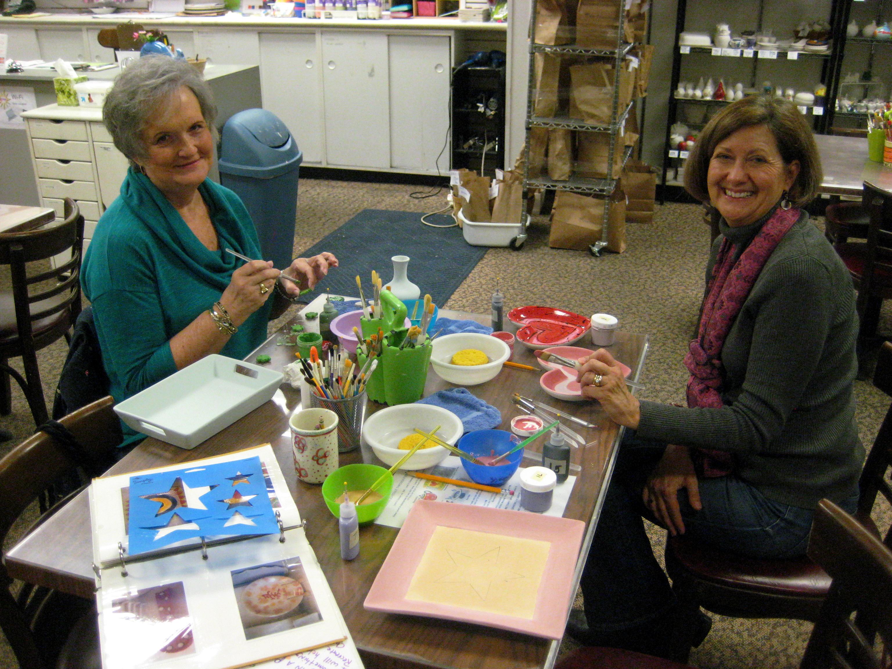 Mom and Lynda painting away