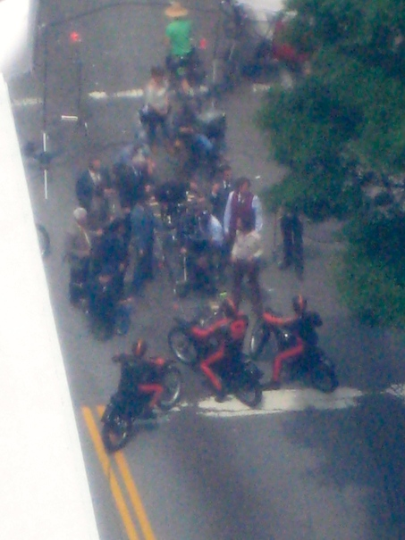 long view but confrontation in the street - motorcycle news station vs. San Diego's finest