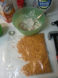 soak the chicken in ranch and crush the goldfish