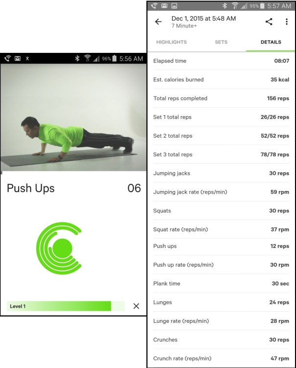 7+ minute workout